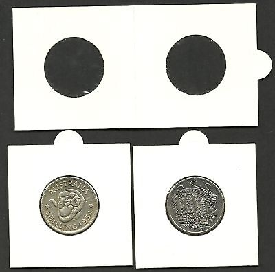 COIN HOLDERS 2 x 2 Self Adhesive 25mm 1/- &10c x 100