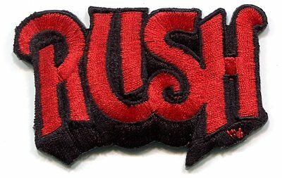 RUSH red on black logo EMBROIDERED IRON-ON PATCH **FREE SHIPPING -moving picture
