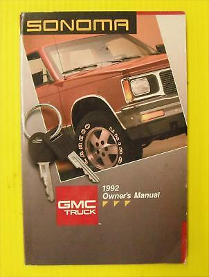 Sonoma 92 1992 GMC Owner's Owners Manual Free Shipping