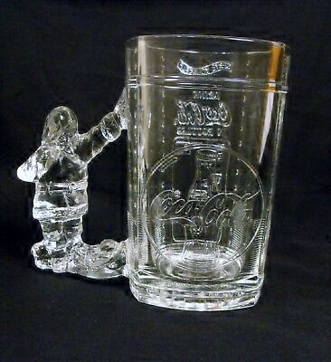 Coca Cola  Christmas Clear Glass Stein/mug Santa Handle