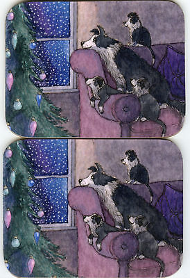 2 x coasters Border Collie dog pup waiting for Santa