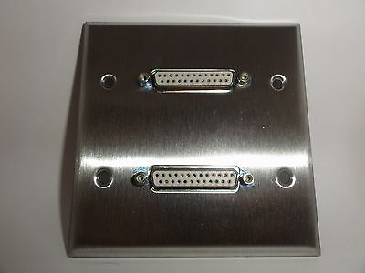 SALEStainless Steel DB25 Dual F Wall Breakout - Wall Plate Panel Mount