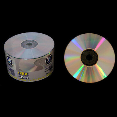 100 Grade A 52X Shiny Silver Top Blank CD-R CDR Disc Media 700MB