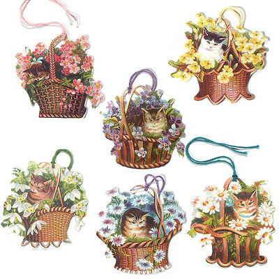 150 Cat in a Basket of Flowers Gift Tags, Die-cut and strung with Cord ET0019