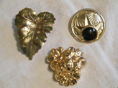 Collectable Gold Scarf Clip Set 3 Rhinestone Signed WOW