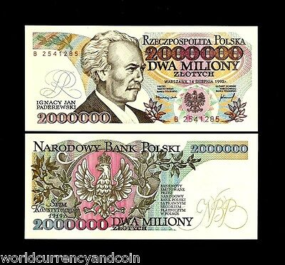 POLAND 2000000 ZLOTYCH 2 MILLION P158a 1992 RARE UNC HIGHEST VALUE CURRENCY NOTE