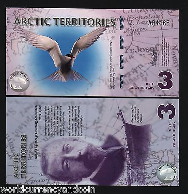 Arctic Territories 3 Dollars New 2011 Norway Polar Unc Tern Polymer Money Note