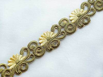 Embroidered, Iron-On Trim. 3 Yards. Gold Scrolls
