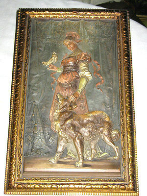 Antique Bradley Hubbard Cast Iron Curtain Dress Lady Dog Dove Bird Art Plaque Bh