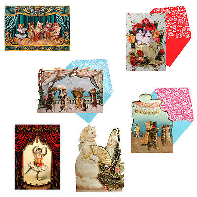 36 3D Decoupage, Victorian Cat Greetings Cards, Embossed and Glittered EC0076