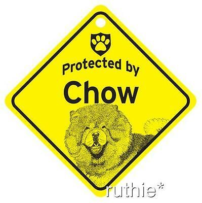 Protected by Chow Dog Window Sign Made in USA