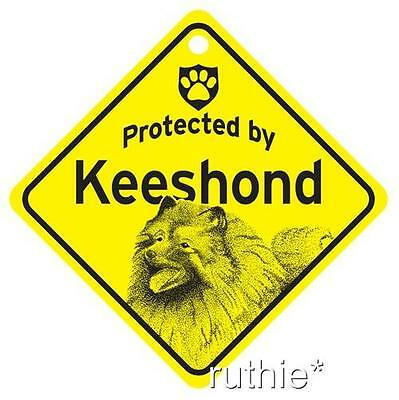 Protected by Keeshond Dog Window Sign Made in USA