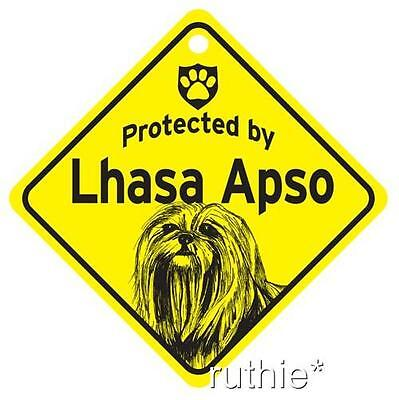 Protected by Lhasa Apso Dog Window Sign Made in USA