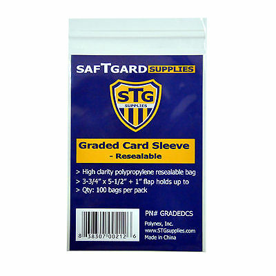 Saf-T-Gard GRADED MLB, NFL TRADING CARD RESEALABLE SLEEVES BAGS - 200 pcs