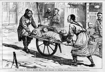 China Famine, Mother Selling Her Children For Bread