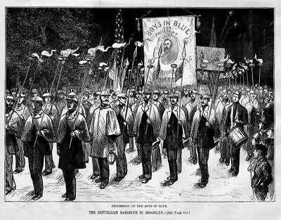 Republican Party In Brooklyn, Boys In Blue Procession