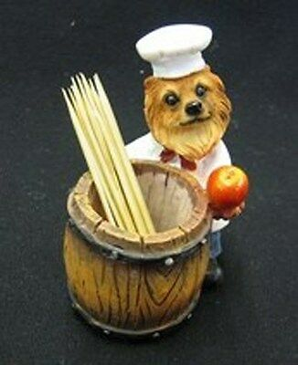 POMERANIAN Red CHEF Dog Toothpick Holder Figurine