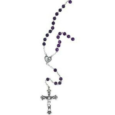 Sterling Silver Amethyst Beads Rosary Necklace Catholic