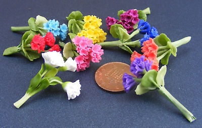 1:12 Scale Bunch Of 3 Polymer Clay Geraniums Dolls House Flowers Accessory