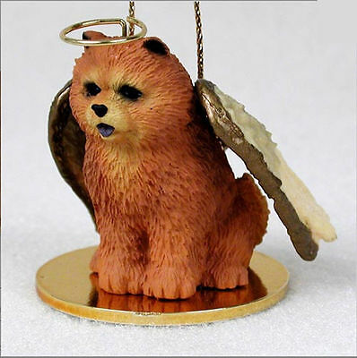 Chow Chow Dog Figurine Angel Statue Hand Painted Red