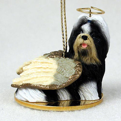 Shih Tzu Ornament Angel Figurine Hand Painted Black/White