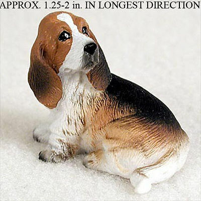 Basset Hound Mini Resin Hand Painted Dog Figurine Statue Hand Painted