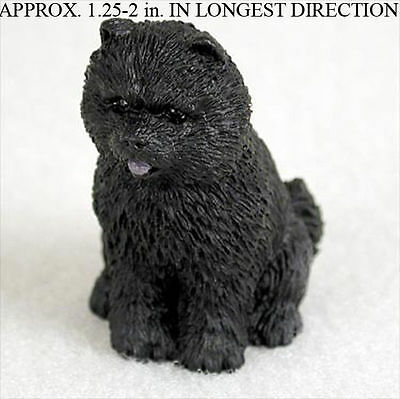 Chow Chow Mini Resin Hand Painted Dog Figurine Black