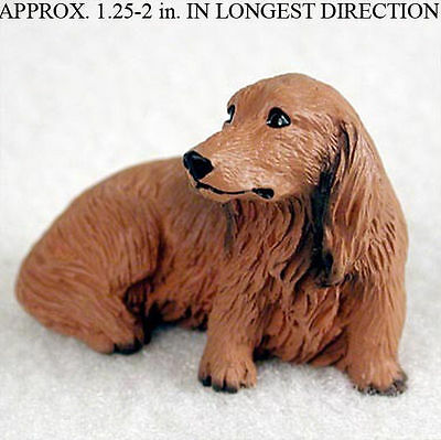 Dachshund Mini Hand Painted Figurine Longhair