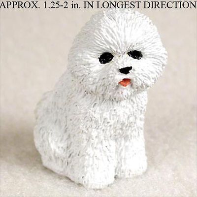 Bichon Frise Mini Resin Hand Painted Dog Figurine Statue Hand Painted