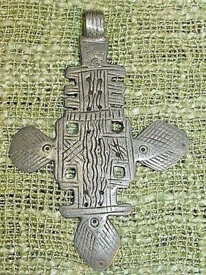 Antique Ethiopian Coptic Orthodox Christian Cross Silver Pendant Ethiopia Africa