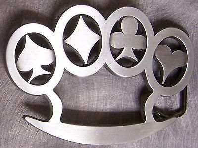 Pewter Belt Buckle Gamble Card Suit Knuckles NEW
