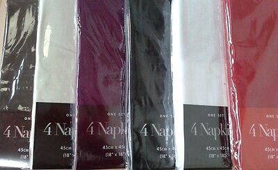 "Clearance Luxury 100% Cotton Plain Napkins Size 18"" Square 6 Colours, Pack Of 4"