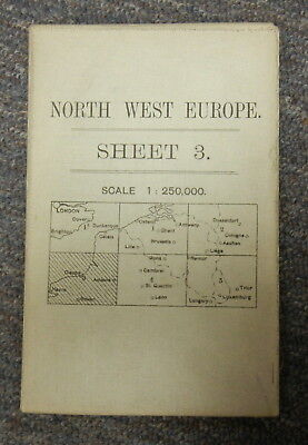 Vintage Ww1 British Army Map - Northwest Europe Sheet 3