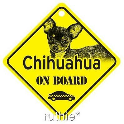 Chihuahua On Board Dog Window Sign Made in USA