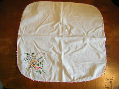 Collectible Embroidered Dresser Scarf Doily 15 x 16 White Pink Embroidery NICE