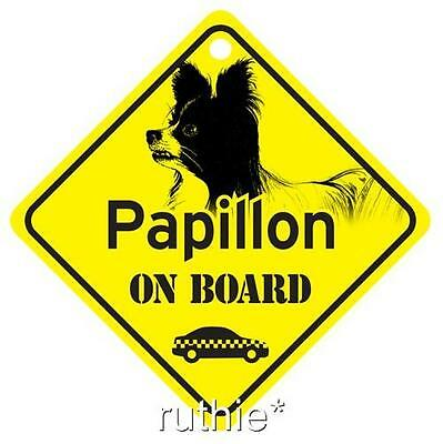 Papillon On Board Dog Window Sign Made in USA