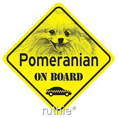 Pomeranian On Board Dog Window Sign Made in USA