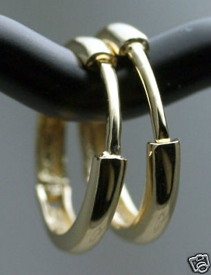 """Classic Solid 14K Yellow Gold Endless Hoop Earrings 1/2""""Heavy 12.5mm / 1.2g NEW"""