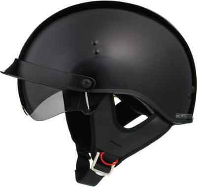Gloss Black Motorcycle Half Helmet Retractable Sun Visor Dot Cruiser Mens Womens