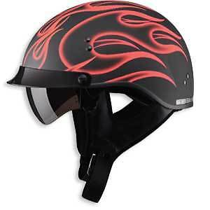 Red Flame Motorcycle Half Helmet Retractable Visor Dot  Sm Md Lg Xl Xxl Large