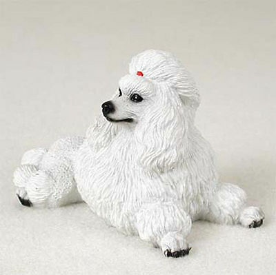 Poodle Figurine Hand Painted Collectible Statue White