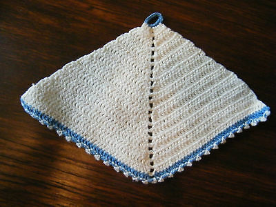 Collectible Crocheted Pot Holder Off White Blue CUTE