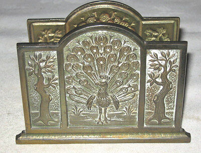 Antique Judd Co Tree Of Life Cast Iron Peacock Art Desk Letter Paper Rack Holder