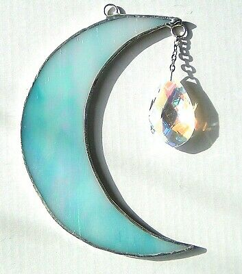 Iridescent Turquoise Moon AB crystal rainbow maker stained glass suncatcher gift