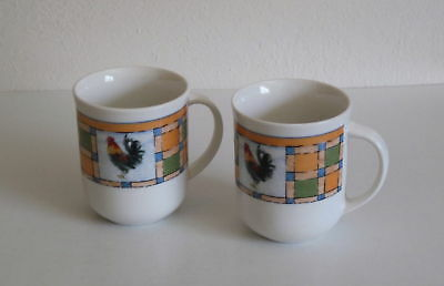 2 Oneida Oneidacraft Rooster Patch  Coffee Mugs - TWO