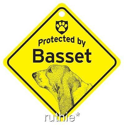 Protected by Basset Hound Dog Window Sign Made in USA
