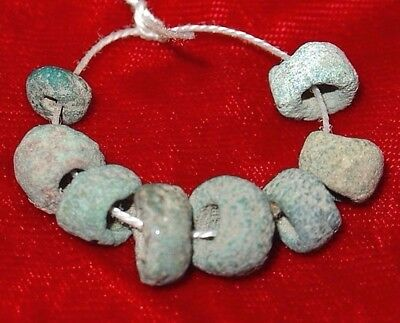 Eight Ancient Excavated Egyptian Faience Dig Beads