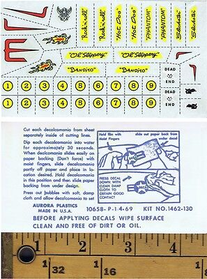 1960's AURORA Thunderjet  Vibrator Slot Car DECAL SET !