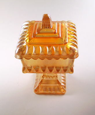 Carnival Glass covered CANDY DISH Jeanette Glass