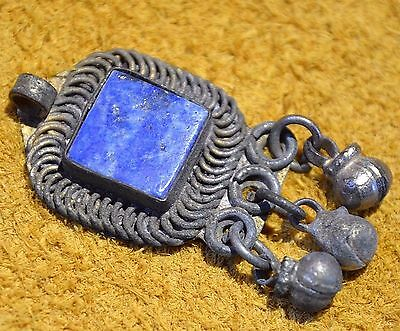 Antique Metal African Pendant Bead W Lapis Stone Setting W Bell Dangles, Africa